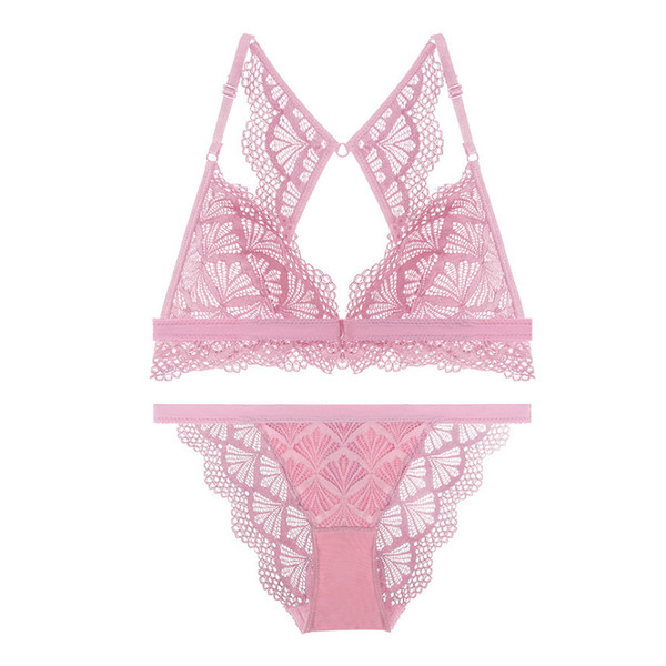 Full lace sexy lady underwear butterfly Beauty back bras with pad deep-v neck women lingerie front button transparent bra set