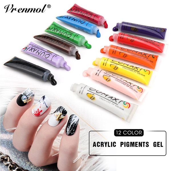 wholesale 12Pcs Acrylic Pigments Painting Pen Gel Varnish UV Gel Nail Art Design Drawing Tube Gel Nail Polish Set