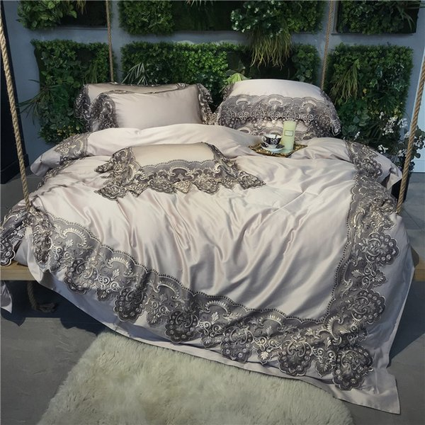 Grey Romantic French Flair Lace 100S Egyptian Cotton  Royal Bedding set Duvet cover Bed sheet Bed Linen Pillowcases 4/5pcs
