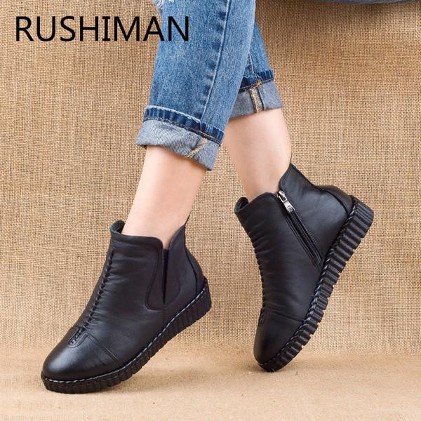 RUSHIMAN mais couro de veludo das mulheres de algodão feitas à mão costurar sapatos quentes nacional vento velho couro curto botas pretas grandes estaleiros 35-41