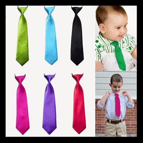 Adjustable Elastic Tie School Boys Baby Wedding Solid Color Ties Child Tie
