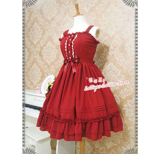 Klasik Lolita Kolsuz Şifon Elbise Tatlı Ruffled Midi Elbise