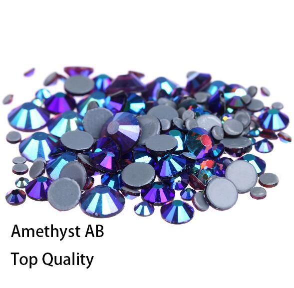 Hot Sale A++ Grade Quality amethyst AB Glass Crystals Strass Stones Hotfix Rhinestones For clothing Garment Accessorie