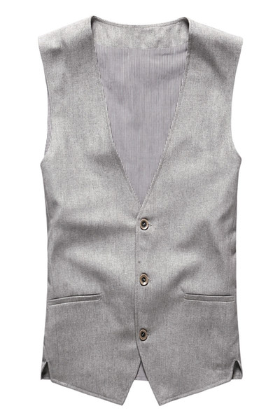 Spring & Summer Khaki Color Single Breasted Cotton Linen Vest Casual Mens Suit Vest Wedding Waistcoat Clothing Casual Suit for Men