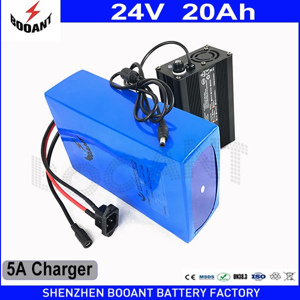 BOOANT Lithium Battery 24v 20Ah 800w Rechargeable Battery with 29.4v 5A Charger Built in 30A BMS eBike Battery 24v Free Shipping