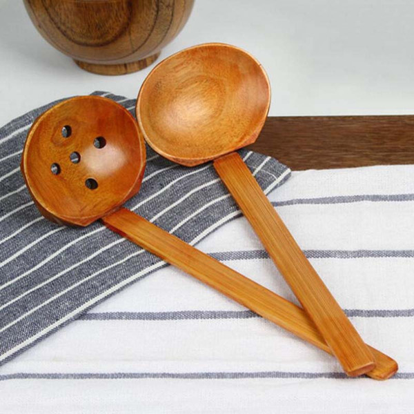 best selling New Wooden Tableware Soup Spoon Japanese Ramen Wooden Long Handle Colander Hot Pot Spoon Practical and Durable