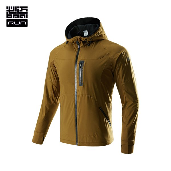 Wholesale-BMAI Running Sports Jacket For Men Long Sleeve Outwear Sweatshirt Hooded Outdoor Camping Sports Clothing Windproof #FRWC001