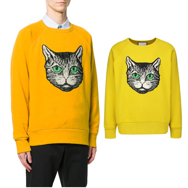 Cat Embroidery Wool Sweater Designer Hot Sale 2019 Slim Fit Crew Neck Longsleeves Sweaters Pullover Male