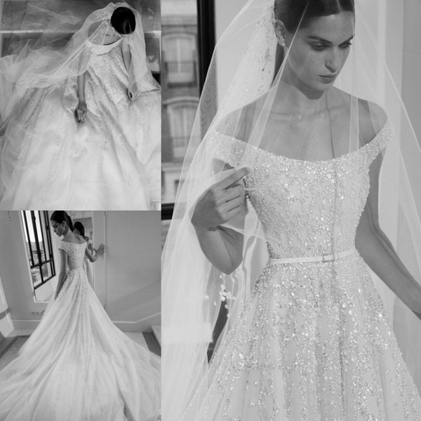Elie Saab 2019 Country Wedding Dresses Off Shoulder Lace Beaded Sequin Sweep Train Beach Wedding Dress Custom Made Short Sleeve Bridal Gowns