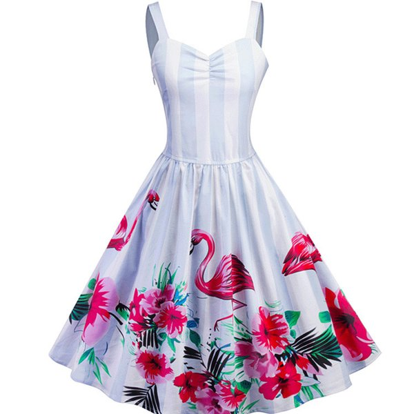 Vadim Cotton Vintage Bud Striped Dropped Special Offer Sale Dress Plus Size Vestido De Festa 2018 For Grain Flamingo Printing