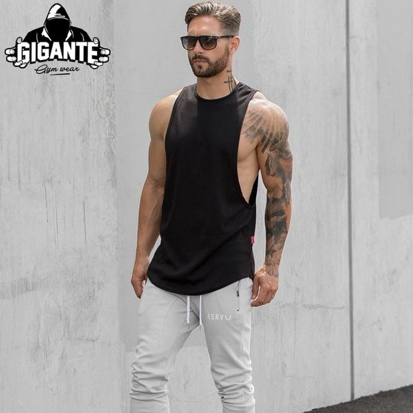 2018 Brand mens t shirts Summer Cotton Slim Fit Men Tank Tops Clothing Bodybuilding Undershirt Golds Fitness tops tees