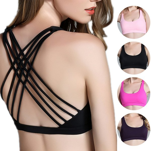 Women Hot Back Sexy Yoga Bra Push Up Active Wear Tops Shakeproof Workout Gym Running Brassiere Wire Free Fitness Sport Bras