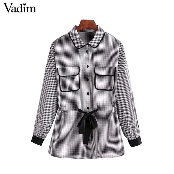 ba60d97e1f2 Vadim women sweet bow tie plaid shirts checkered long sleeve pleated blouse  vintage ladies casual chic tops blusas LT2754