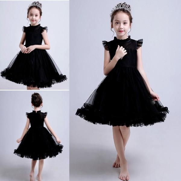 Custom Made Black Wedding Kids Flower Girl Dresses Jewel Short Sleeve Knee Length Ball Gown Zipper Back Well Fitting Birthday Party Dresses
