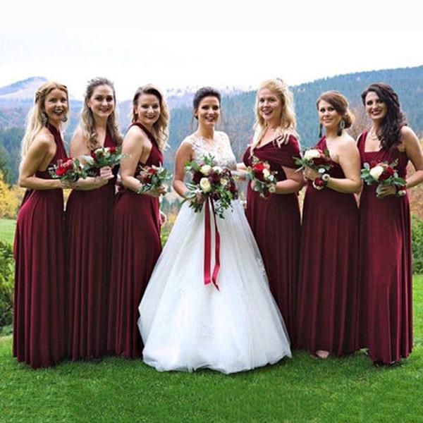Custom Made Burgundy Wine Bridesmaid Dresses Infinity Convertible Dresses  Burgundy Multiway Dress Burgundy Plus Size Bridesmaid Gowns Short Lace ...
