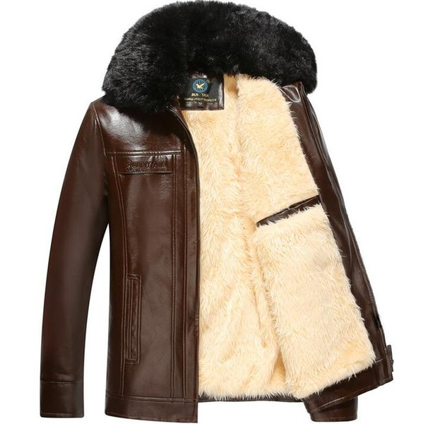Plus velvet thickening mens leather jackets large fur collar winter motorcycle leather jacket men jaqueta de couro masculino