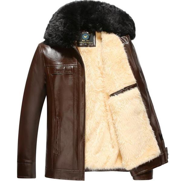 Plus samt verdickung herren lederjacken große pelzkragen winter motorrad lederjacke männer jaqueta de couro masculino