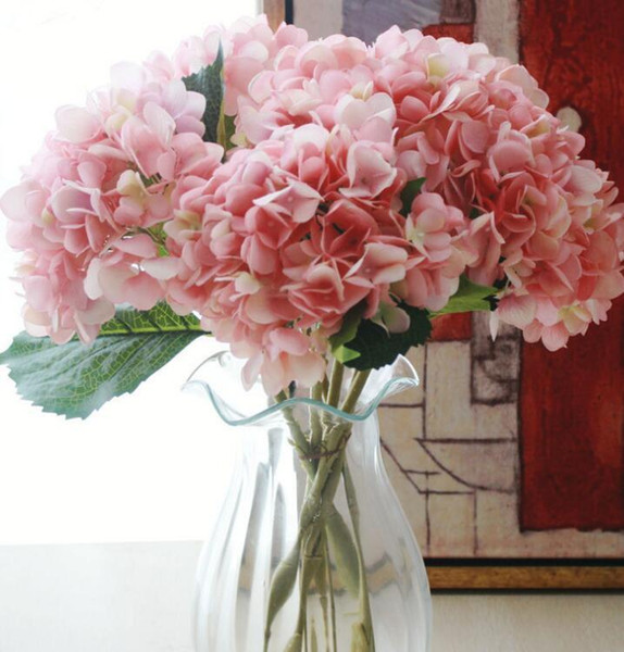Artificial Hydrangea Flower Head 47cm Fake Silk Single Real Touch Hydrangeas 7 Colors for Wedding Centerpieces Home Party Decorative Flowers