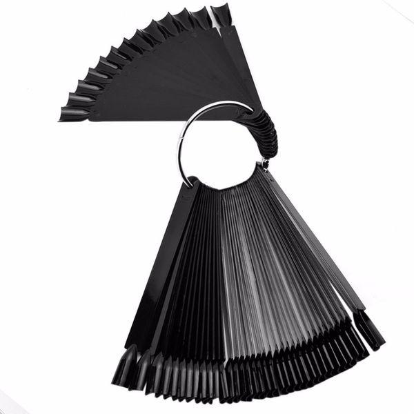 50pcs Nail Art Tips Display Practice Sticks Fan Shaped Nail Polish Swatches Color Sample Art Tools Kit with Iron Ring