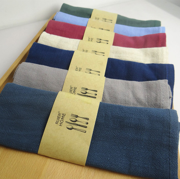 best selling 12pcs lot plain dyed Good water absorption Plain color 100% linen napkin Tea towels for restaurant