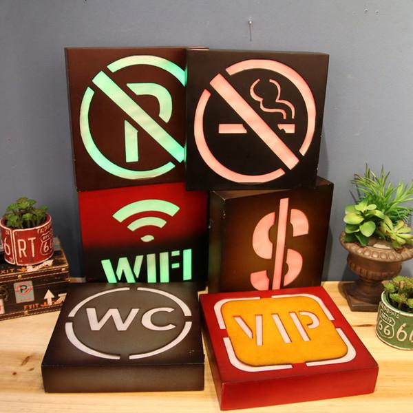Não Fumadores LED Sinais de Néon Wc Wifi Livre Placa de Luz Para Restaurante Bar Cafe decoração Da Parede Símbolo VIP Iluminado Tabuleta