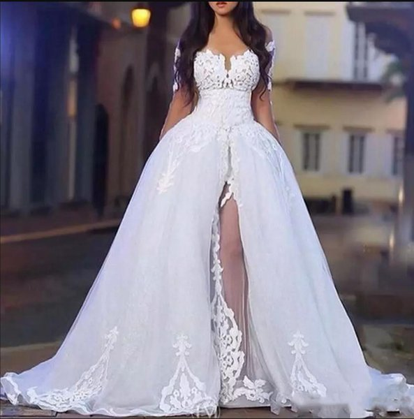 White Wedding Dresses A Line Tulle Applique Lace Illusion Long Sleeve Sweetheart Floor Length Front Slit Vestido de novia Lace Wedding Gowns