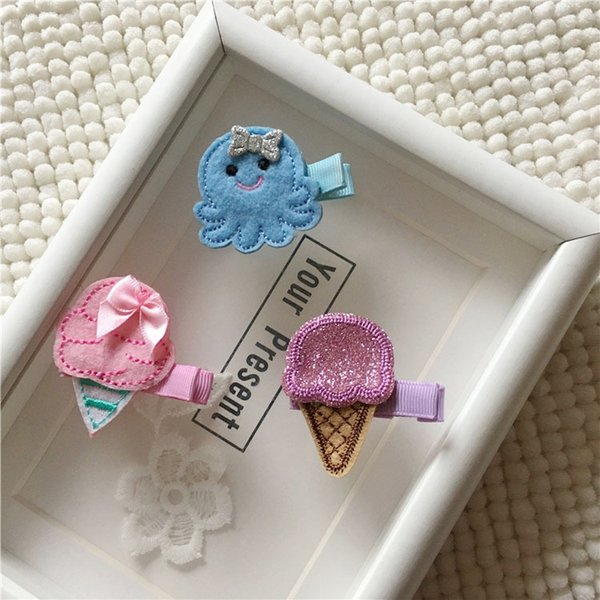 Boutique 15pcs Fashion Cute Felt Icecream Hairpins Kawaii Solid Glitter Mini Octopus Hair Clips Princess Headware Accessories
