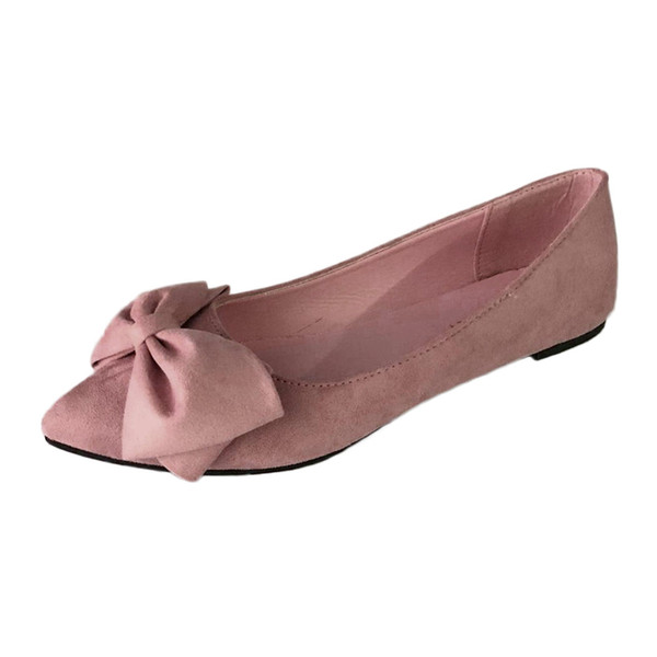 Mujeres Flow Flock Bowknot Ponited Toe Flat Low Heel Slip On Zapatos Zapatos individuales Barco 20181106