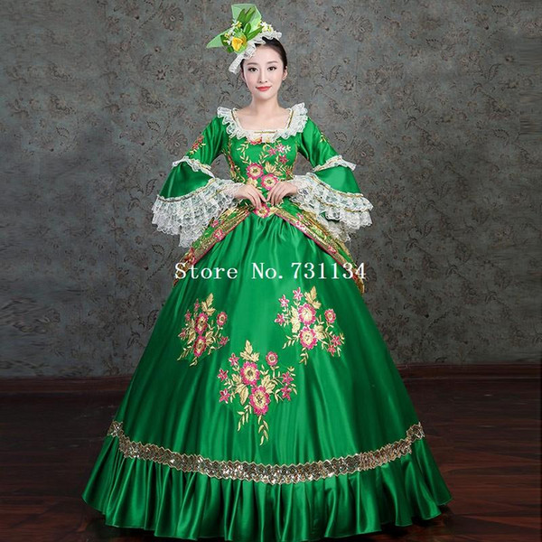 Green Vintage Victorian Rococo Costume Women's Dress Masquerade Party Costume Dresses Cosplay Lace Satin Long Sleeves Dress