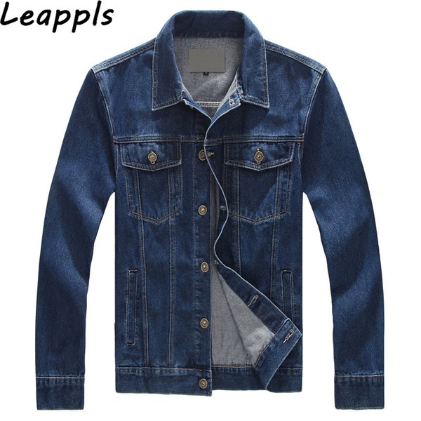 Leappls denim Ceketler Mens% 95% Pamuk Artı boyutu 6XL 7XL 8XL moda Moto Biker erkek denim Giyim jaqueta masculina Coats tops