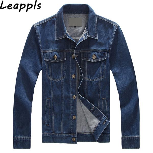 Leappls denim Jackets Mens 95% Cotton Plus size 6XL 7XL 8XL fashion Moto Biker mens denim Outerwear tops jaqueta masculina Coats