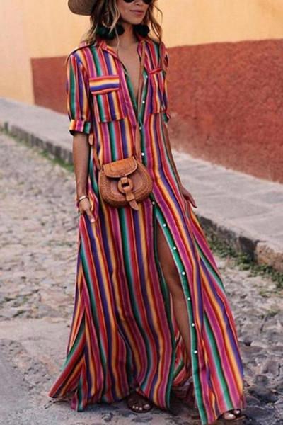 женщина одеть мода цвет блока полосатый воротник декольте Половина рукава кнопка сдвиг макси платье