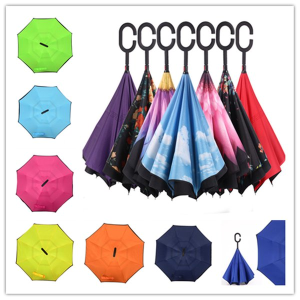 New Umbrella Sunny Rainy Umbrella Reverse Folding Inverted Umbrellas With C Handle Double Layer Outdoor Gadgets