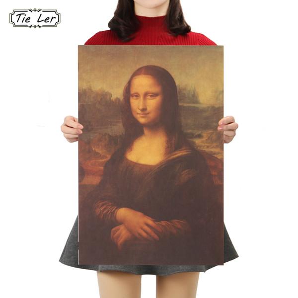 Tie Ler Mona Lisa Leonardo Da Vinci Smile Peintures Célèbres Kraft Papier Affiche Accueil Décoratif Affiche Rétro Peinture Sticker Mural