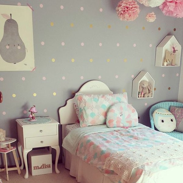 Home Decoration Posters Stickers Baby Nursery Gold Polka Dots Stickers Dots Wall Decal Children Room Wall Sticker Kids Room My Wall Tattoos Name Wall