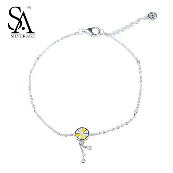 SA SILVERAGE Authentic 925 Silver Lemon Anklets for Women Fine Jewelry 2018 New Original Design Anklets Sterling Silver Gift C18110801