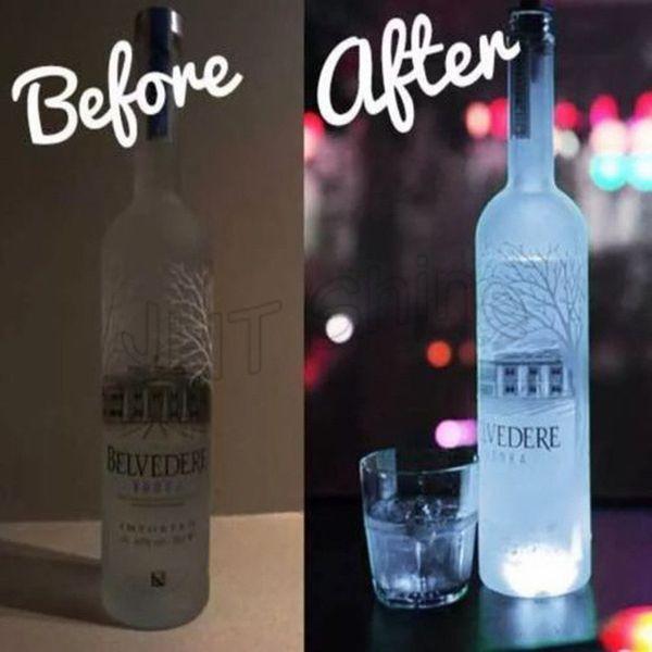 LED Bottle Light Stickers Bar Club Halloween New Year Christmas Decor LED Bottle Glorifier With Battery LED Coaster Cup Mat