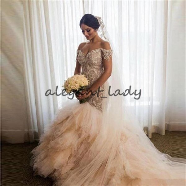 champagne mermaid wedding dresses with off the shoulder short sleeves 3d appliques tiered count train customized bridal wedding gowns