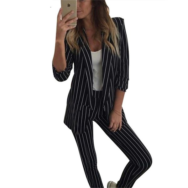 office lady two Piece Sets Work Pant Suits black anwhite Blazer Jacket & Pencil Pant 2 Pcs Suit Outfits