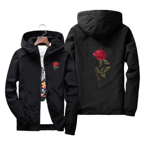 Acheter New Fashion Rose Veste Coupe Vent Pour Hommes Femmes Broderie College Vestes Homme Zipper Haute Qualité Rose Broderie À Capuche De $12.7 Du