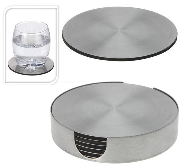 Enipate Ensemble de 6 sous-verres ronds en acier inoxydable avec support de table isolante en métal pour support