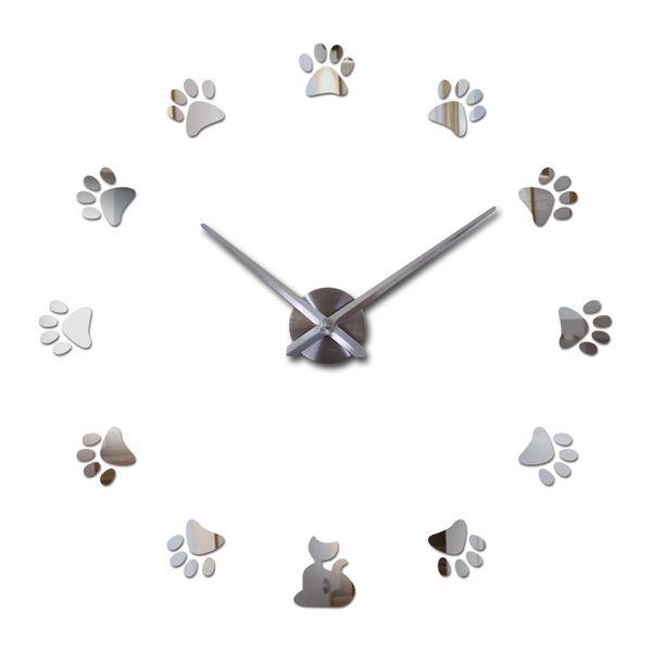 Creative real Diy acrylic mirror wall clock quartz watch still life needle big clocks modern living room home decor stickers