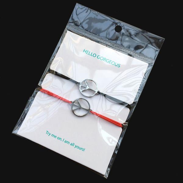 2pcs Wish Bracelet Peace Stainless Steel Charm Adjustable Elastic Cord Bracelet Heart Pendant Lucky For Men Women