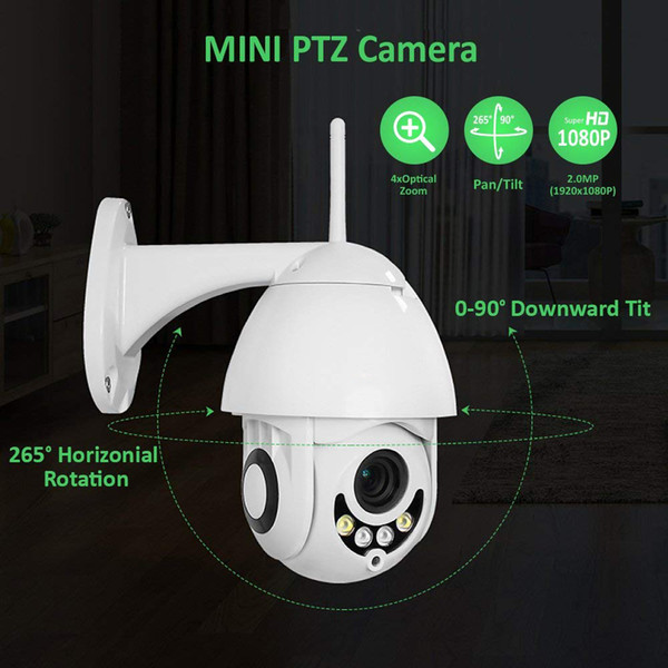 Wireless WiFi IP Security Camera HD Wireless WiFi 1080P PTZ Security Camera Outdoor Waterproof Dome Home Surveillance