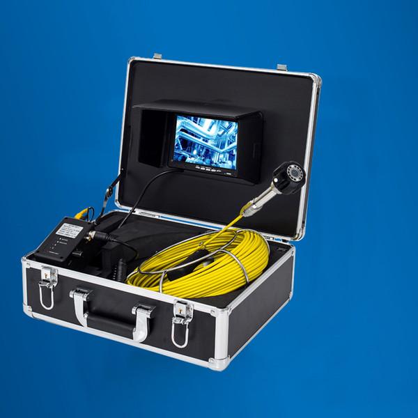 Sistema impermeable de la cámara de la inspección del tubo de las aguas residuales del cable de la fibra de vidrio 20M de las luces LED 20M con el monitor de 7 pulgadas