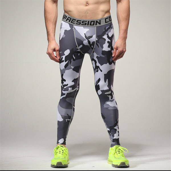 Camo Mens Compression Jogging Pants Leggings Running Base Layer Fitness Trousers Tights Sport Training Gym Wear