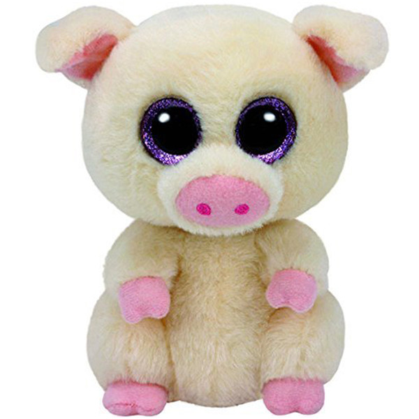 "Pyoopeo Ty Beanie Boos 6"" 15cm Piggley the Pig Plush Regular Soft Big-eyed Stuffed Animal Collection Doll Toy"
