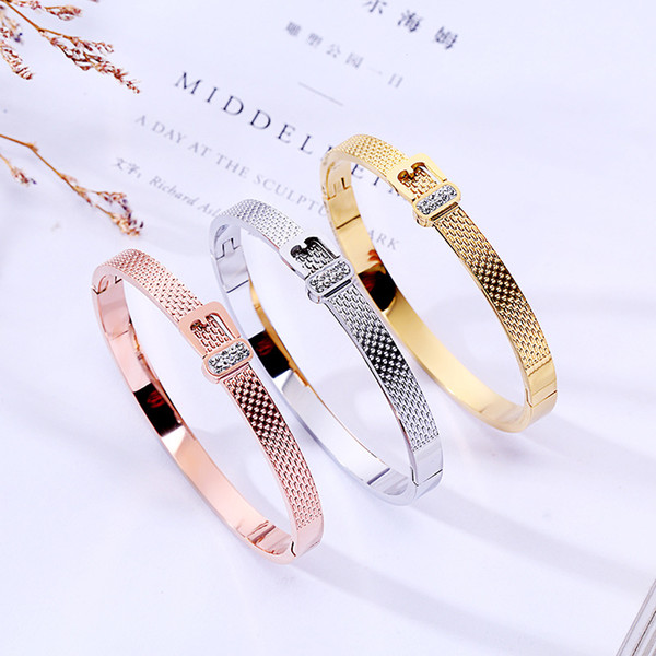 Fashion Women Belt Bracelet 3 Colors 18K Rose Gold Bangle For Daily Wearing Best Gifts For Party, Anniversary