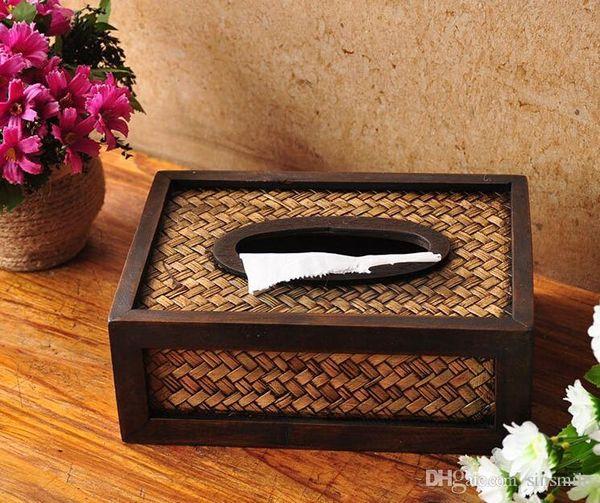 Commercio all'ingrosso- NUOVO stile di bambù artigianato in legno decorazione della famiglia prendere scatole di cartone di carta