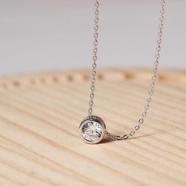 Подвески стерлингового серебра 925 кулон ожерелье в форме сердца кулон Циркон любовь цепи наборы ювелирных изделий День святого Валентина подарок женщинам фарфора